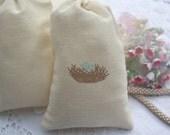 Muslin Favor Bags - Baby Shower - Birthday - Favors - Bird Nest - Blue Eggs -  Baby Boy