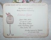 Baby Shower Invitation - Elegant Bird Cage - Birthday - Bridal - Custom Invitation - Baby Girl - Christening