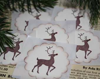 Christmas Stickers - Envelope Seals - Reindeer
