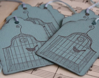 Gift Tags - Vintage Bird Cage - Robin's Egg Blue