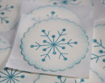 Stickers - Envelope Seals - Blue Snowflakes - Winter Stickers