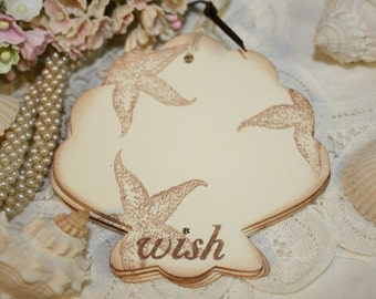 Gift Tags - Beach Theme Wish - Ivory - Seashell Shape