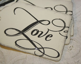 Valentine's Day Gift Tags - Love - Black and Ivory