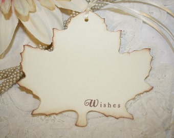 Wish Tree Wedding Tags - Wishes - Autumn Leaf Shape - Set of 25
