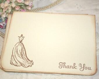Wedding Thank You Cards - Wedding Dress - Bridal Shower Thank You - Set of 12