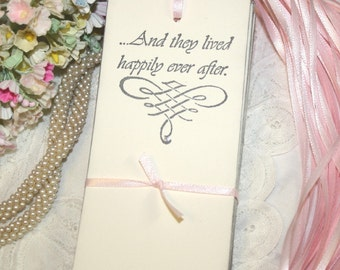 Wish Tree Wedding Tags - And They Lived Happily Ever After - Soft Gray and Silver - Set of 25