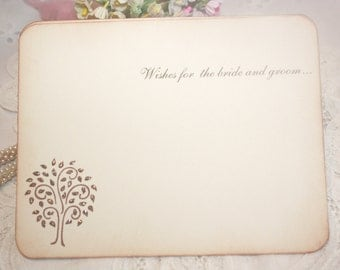 Wedding Wish Cards - Glittered Tree - Wishes for Bride and Groom - Set of 25