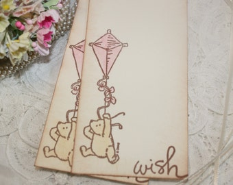 Baby Shower Wish Tree Tags - Winnie the Pooh with Kite - Baby Girl - Set of 12