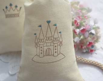 Muslin Favor Bags - Baby Shower Boy - Wedding - Birthday - Favors - Stamped Castle