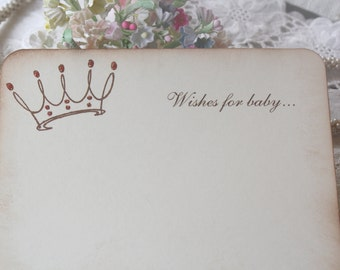 Baby Shower Wish Cards - Pink Glittered Crown - Princess - Baby Girl - Set of 12