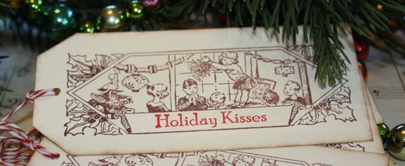 Christmas Gift Tags -  Holiday Kisses - Mistletoe