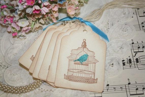 Gift Tags - Vintage Bird Cage - Blue Bird