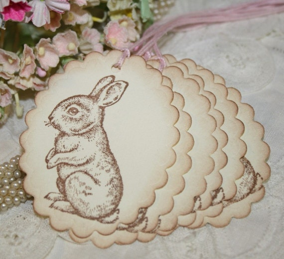 Spring Gift Tags -  Bunnies - Easter Bunny - Favor Tags in Ivory