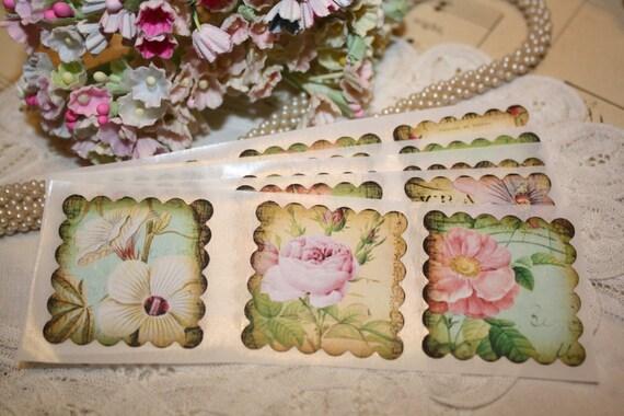 Flower Stickers - Envelope Seals - Vintage Floral Images - Wedding Seals