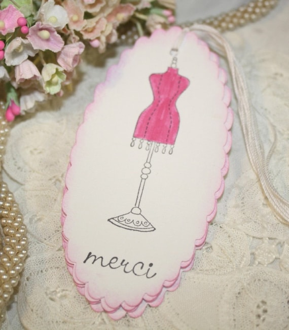 Gift Tags - Vintage Dress Form - Merci -  French Inspired