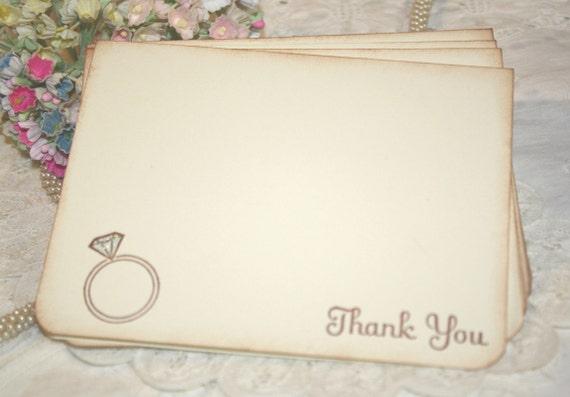 Wedding Thank You Cards - Diamond Ring - Bridal Shower Thank You - Set of 12
