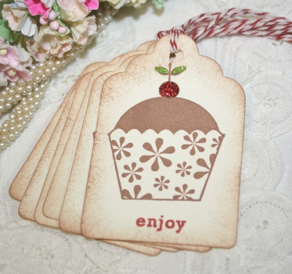 Gift Tags - Cupcakes with Glittered Cherries - Enjoy