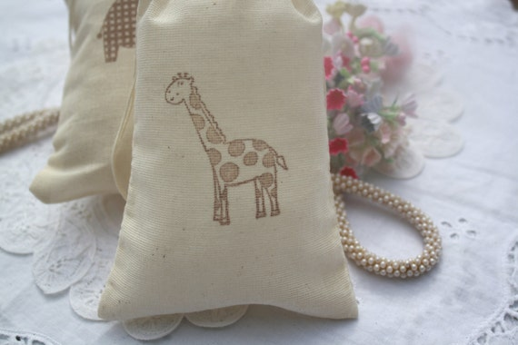 Muslin Favor Bags - Giraffe - Baby Shower - Wedding - Birthday - Favors