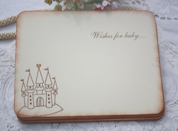 Baby Shower Wish Cards - Pink Glittered Castle - Princess - Baby Girl - Set of 12