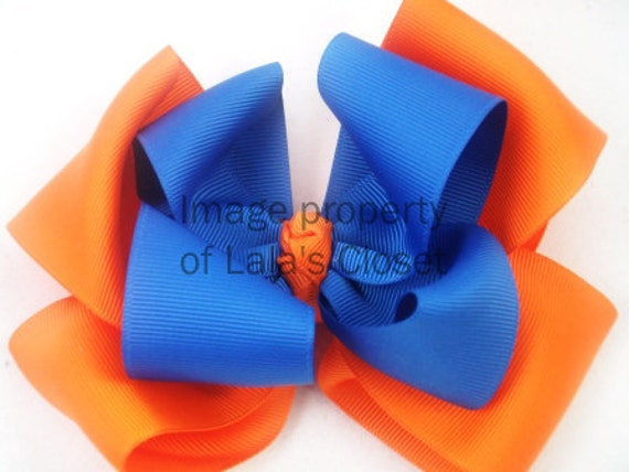 Gator - Blue and Orange Hair Bow (Free Shipping)