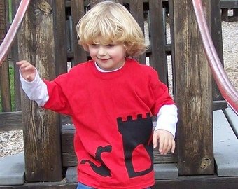 Castle Dragon Tshirt Wrap Around Fabric Applique Youth Child Kids XSmall 4 5, Small 6 7, Medium 8 10, Large 12 14, XLarge 16 18