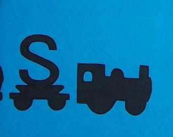 Train Tshirt Personalized Wrap Around Fabric Applique Youth Child Kids Size XSmall 4 5, Small 6 7, Medium 8 10, Large 12 14, XLarge 16 18