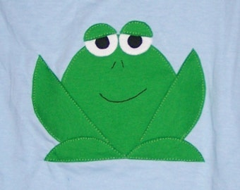 Frog Tshirt Fabric Applique Tshirt with Fullsize Frog Infant Baby Toddler 6 month 6m 12 month 12m 2T 3T 4T
