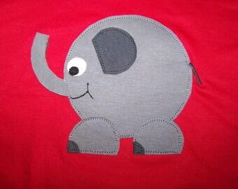 Little Elephant Tshirt pieced applique Toddler Infant Baby 6 month, 6m, 12 month, 12m, 18 month, 18m, 2T, 3T, 4T