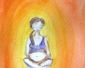 Meditating Mama Original Watercolor