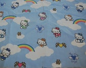 Japanese Sanrio Hello Kitty Angel Rainbows Clouds Fabric Hard to Find Unique
