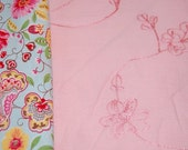 Boutique Euro Embroidered Floral Pink Gauze Fabric 1 yard