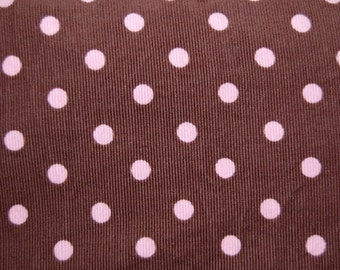 Robert Kaufman Brown Pink Polka Dot Cord Corduroy Fabric 1 yard
