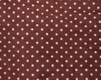 Robert Kaufman Brown Pink Mini Polka Dot Cord Corduroy Fabric 1 yard
