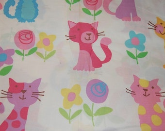 Euro Boutique Kitty Cat Floral Fabric 1 yard