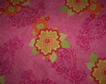 Euro Import Floral Pink Brigida Cotton Poplin Fabric 1 yard Hilco Stenzo VHTF OOP