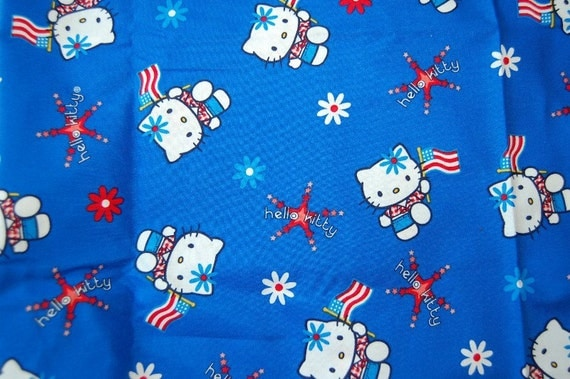 Hello kitty american flag americana fabric 1 yard july 4th for Hello kitty 4th of july coloring pages