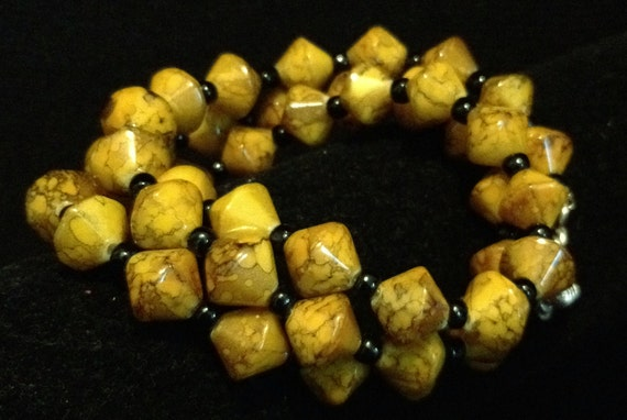 Black and Yellow Triple Wrap Bracelet