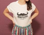 silk screen Mustache Mouth t-shirt