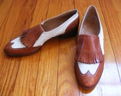 vintage Ralph Lauren designer Two Tone tan and white Oxfords with slight heel and Fringe Toe