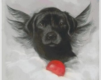 BLACK LAB ANGEL Dog Cross Stitch Chart