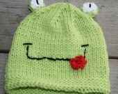 Green Knit Froggie Hat--newborn to child sizes available--Adorable photo prop or gift--