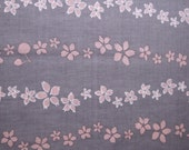 Cotton japanese kimono yukata fabric dusky pink sakura blossoms on pale aubergine eggplant purple 1m (30m available)