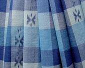 Wool gauze vintage japanese kimono fabric giant blue check - 1m (7m available)