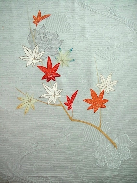 Silk vintage fabric remnant unpicked from japanese kimono pale green grey blue hand paint Panel 1