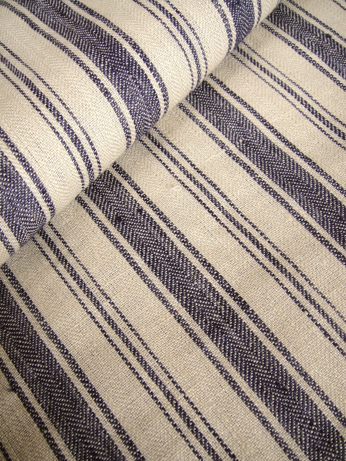 Items similar to French Belgian Linen ticking fabric by ...