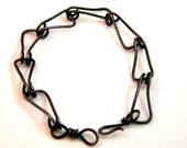 Unisex Black Steel chain link bracelet