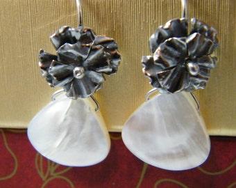 Rose Flower Earrings in Mother of Pearl