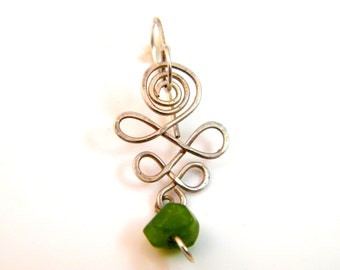Green faceted chrysocola earring chunky swirl spiral