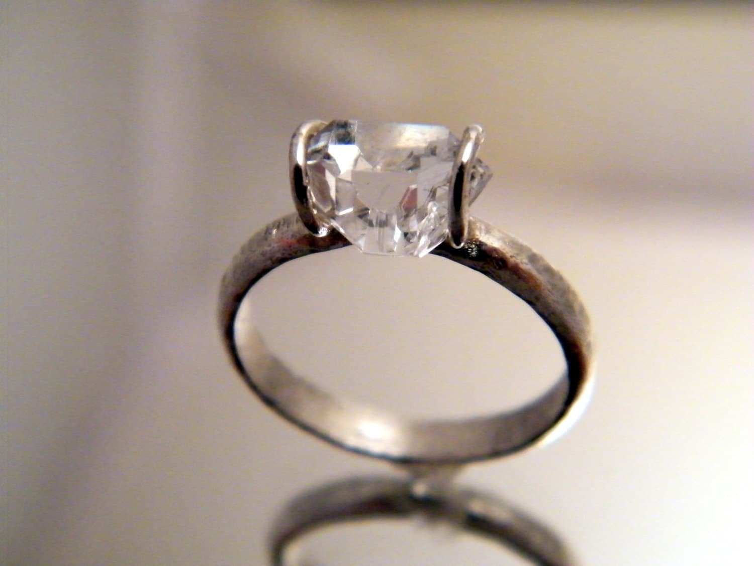 Herkimer Diamond Solitaire ring simple engagement ring