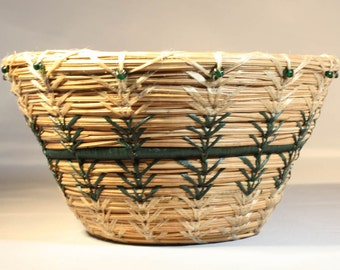 Pine Needle Basket with Green Accents